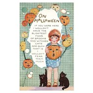 Scarce Vintage Whitney Halloween Postcard Girl with Black cats and Jack O Lanterns