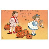 Raphael Tuck Halloween Postcard Series 188 Children with Jack O Lanterns