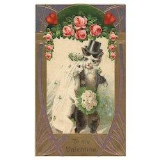 1909 Vintage Valentine Cat wedding postcard
