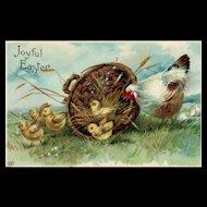 Joyful Easter Vintage Easter EAS Postcard Hen with chicks in a basket Postcard