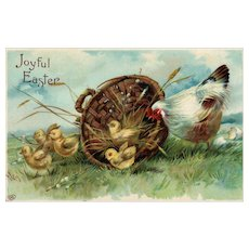 Joyful Easter Vintage Easter EAS Postcard Hen with chicks in a basket Postcard