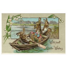 With Best Easter Wishes 4 Bunny Rabbits on a boat delivering their Eggs Postcard