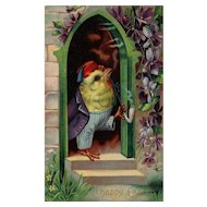 Series 1520 B 1910 Vintage Easter Postcard Dressed Chick