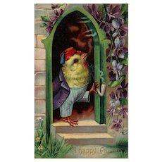 Series 1520 B 1910 Vintage Easter Postcard Dressed Chick