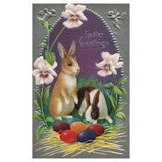 Nash Easter Greeting Series No 23 Bunny Rabbits with colored eggs vintage postcard