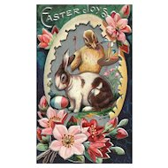 Nash Easter Greeting Series No 3 Artist chick painting bunny rabbit egg vintage postcard