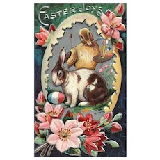 Nash Easter Greeting Series No 3 Artist chick painting bunny rabbit egg vintage postcard