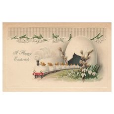 1916 A Happy Eastertide Chick Train Vintage Easter postcard