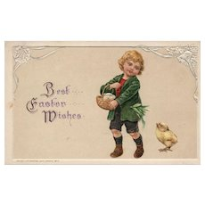 1913 John Winsch Vintage postcard Easter boy with basket of eggs and chick
