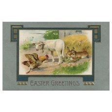 John Winsch barnyard Easter scene vintage postcard Hen vs Rabbits