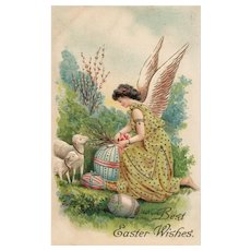 Easter Angel with lambs colored eggs and Pussy willows vintage postcard