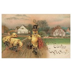 Easter Greeting dressed chick with status Top hat vintage postcard