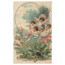 Easter Angels frolick with sheep Embossed vintage postcard