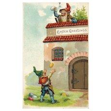 Early 1909 Easter Gnomes delivering eggs vintage postcard