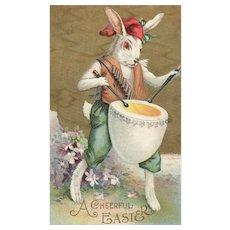 Easter Bunny Rabbit parades drumming an egg drum postcard