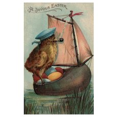 Scarce Easter Chick Dutch Sailboat Captain wooden shoe with  colored eggs