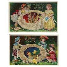 Spectacular Set of Gold Gilt Gel Vintage Easter Postcards Series 39