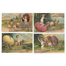 Set of 4 PFB Series 5837 Easter Postcards Children Lamb Lambs Eggs