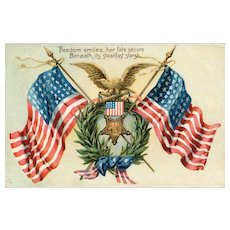 Freedom Smiles her fate secure American Flag Patriotic Memorial Decoration Day Postcard Tuck Series