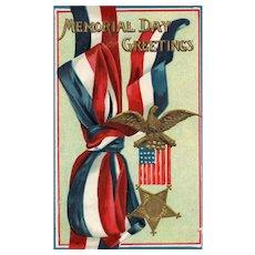 1912 Memorial Day Greetings Patriotic Ribbon GAR Flag