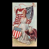 1906 Patriotic Lady Liberty with American Eagle Flag and shield