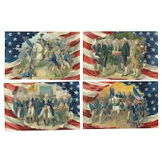 Lot of 4 George Washington Birthday Series 156 Patriotic Vintage Postcards