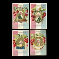 Set of 4 George Washington Patriotic Postcards series by Nash W-7