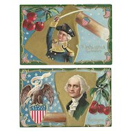 Set of 2 George Washington Birthday Nash Series No 2 vintage Patriotic postcards