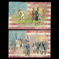 Set of two Raphael Tuck George Washington Birthday series 124 Vintage postcards