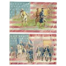 Set of two Raphael Tuck George Washington Birthday series 124 Vintage postcards