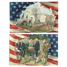 Set of 2 Raphael Tuck George Washington Birthday Series No 156 vintage postcards