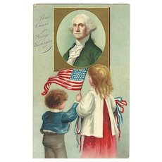 Ellen Clapsaddle Patriotic postcard George Washington 'Three Cheers'