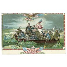 Vintage Patriotic Postcard George Washington Crossing the Delaware