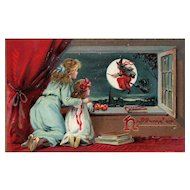 1908 Raphael Tuck Series 150 Children watch Witch fly by the moon