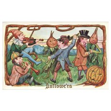 1911 Halloween Party of Music and Dancing Fantasty Vintage Postcard