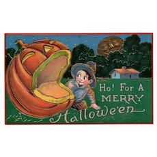 Ho for a Merry Halloween Samson Brothers Series 7151 Gel Gold Gilt