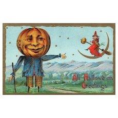 1911 Gottschalk Scarecrow Pumpkin Head Halloween Vintage Postcard with Witch