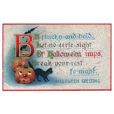 1911 vintage Halloween Postcard Embossed Pumpkins and Black cat