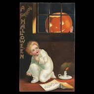 Signed Ellen Clapsaddle Ye Ghost Pumpkin head in the window Halloween Postcard
