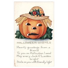 Halloween Wishes Pumpkin Scarecrow vintage postcard by Whitney