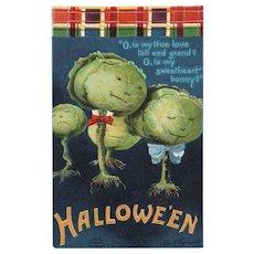 Artist Signed Ellen Clapsaddle Fantasy Dancing Cabbage vintage Halloween Postcard