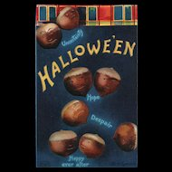Couple of Nuts Fantasy by Artist Signed Ellen Clapsaddle Halloween Vintage Postcard