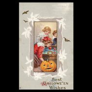 1921 Best Halloween Wishes - Children bobbing for apples - vintage postcard