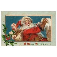 Artist Signed Frances Brundage Santa Claus vintage Christmas postcard