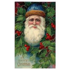 Blue eyed Blue cap Santa Claus in Holly bush Vintage Christmas Postcard Series 1480