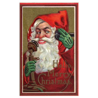 1914 Vintage Christmas postcard Santa Claus talks on a vintage telephone Green gloves