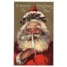 Julius Bien Santa Claus Vintage Christmas postcard series 500 2 of 2 Feather pen