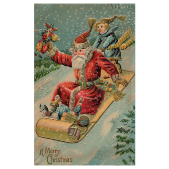 Santa Claus having some fun sliding with toys to deliver vintage Christmas postcard