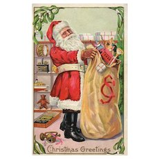 Vintage Christmas Santa Claus Postcard Series 227 Holding his bag of toys
