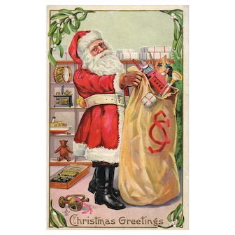 Vintage Christmas Santa Claus Postcard Series 227 Holding his bag of toys